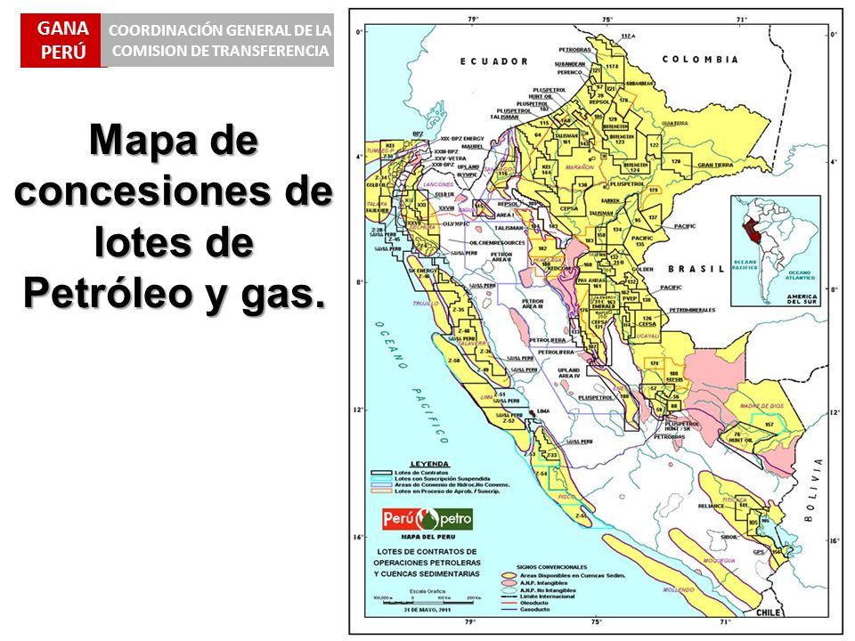 GANA PERÚ COORDINACIÓN GENERAL DE LA COMISION DE TRANSFERENCIA Mapa de concesiones de lotes de Petróleo y gas.