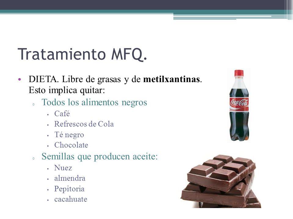 Tratamiento MFQ. DIETA. Libre de grasas y de metilxantinas. Esto implica quitar: o Todos los alimentos negros Café Refrescos de Cola Té negro Chocolat