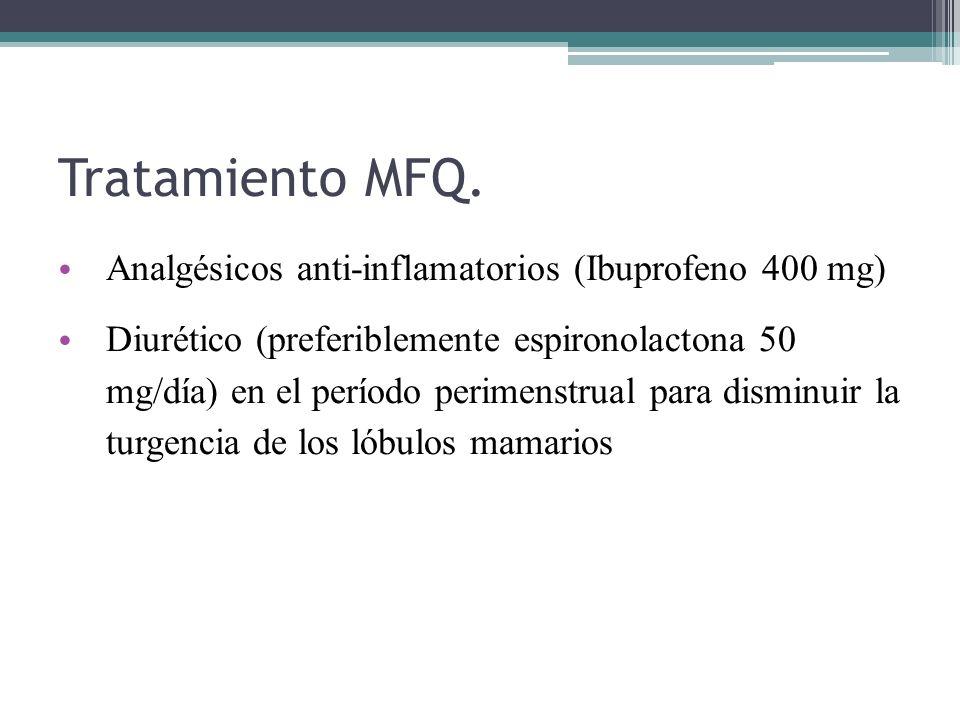 Tratamiento MFQ. Analgésicos anti-inflamatorios (Ibuprofeno 400 mg) Diurético (preferiblemente espironolactona 50 mg/día) en el período perimenstrual