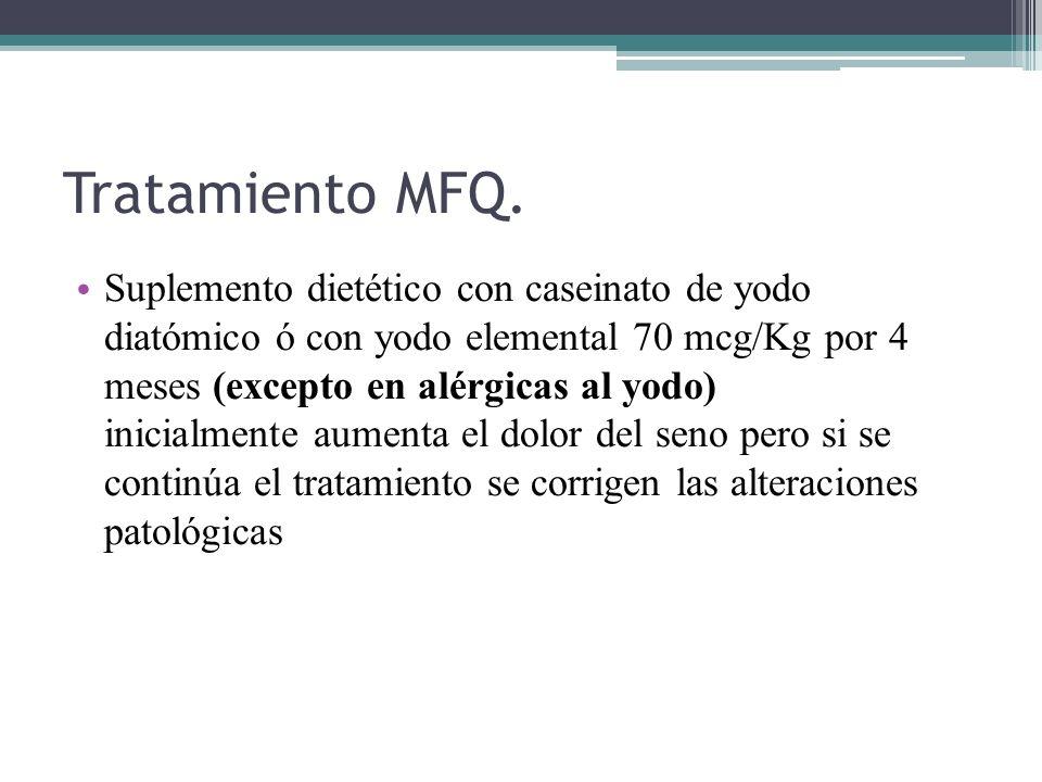 Tratamiento MFQ. Suplemento dietético con caseinato de yodo diatómico ó con yodo elemental 70 mcg/Kg por 4 meses (excepto en alérgicas al yodo) inicia