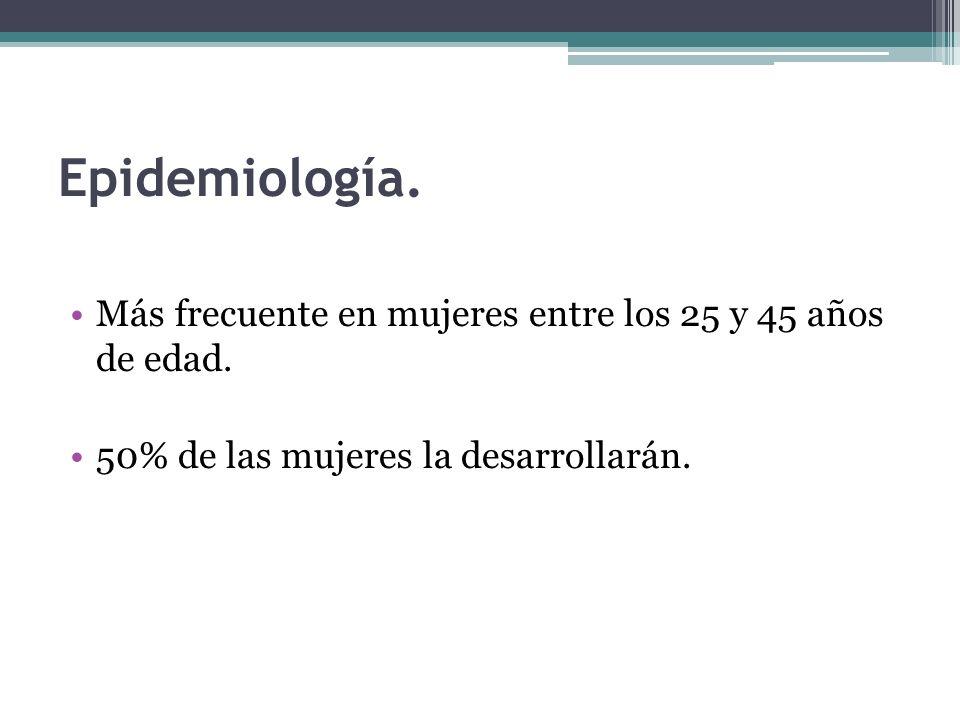 Epidemiología.Más frecuente en mujeres entre los 25 y 45 años de edad.