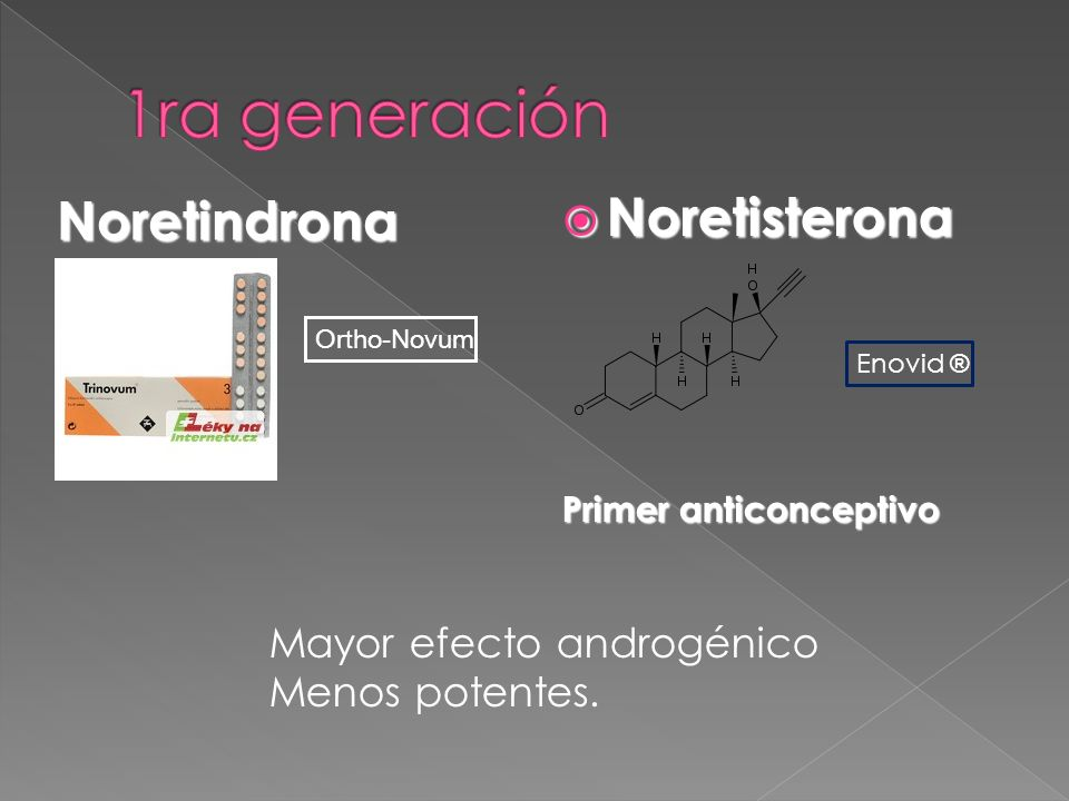 Noretindrona Noretisterona Noretisterona Primer anticonceptivo Ortho-Novum Mayor efecto androgénico Menos potentes. Enovid ®
