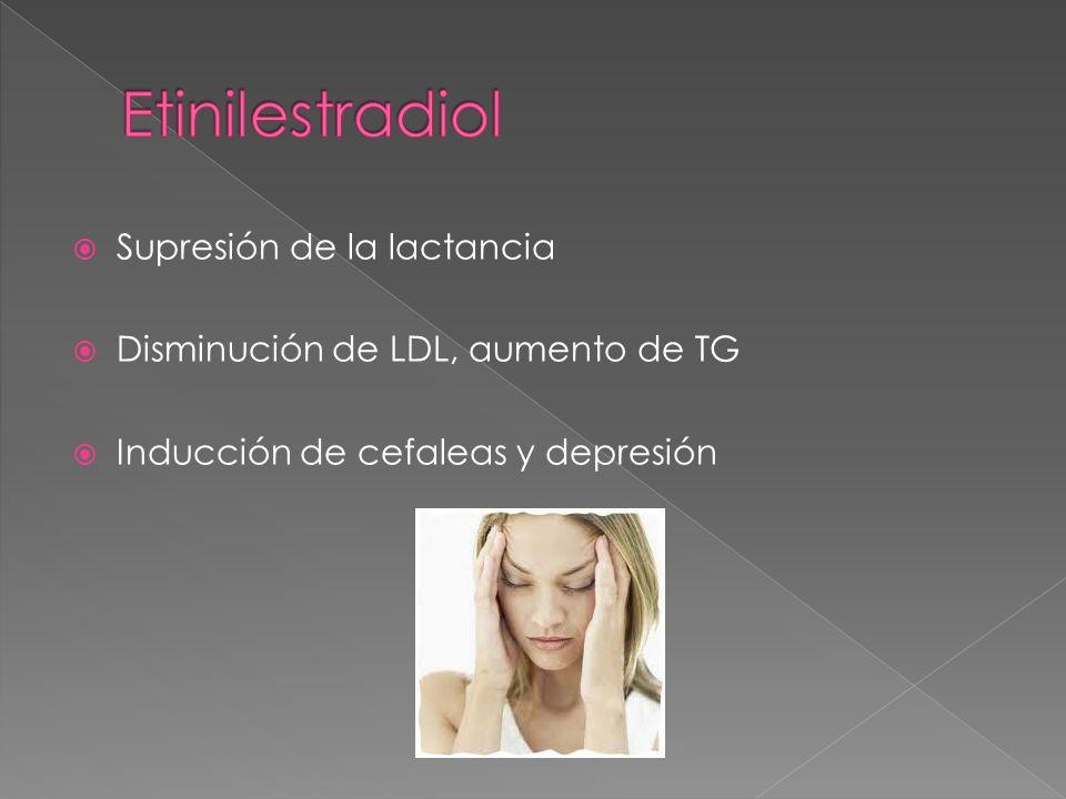 Supresión de la lactancia Disminución de LDL, aumento de TG Inducción de cefaleas y depresión
