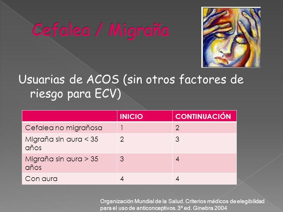 Usuarias de ACOS (sin otros factores de riesgo para ECV) INICIOCONTINUACIÓN Cefalea no migrañosa12 Migraña sin aura < 35 años 23 Migraña sin aura > 35