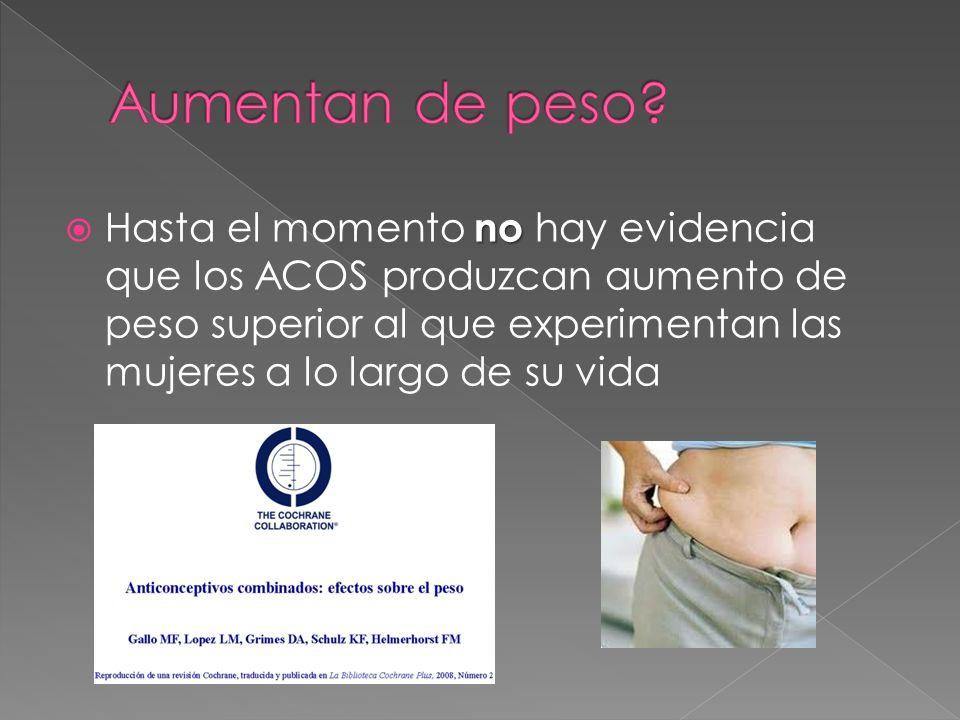 no Hasta el momento no hay evidencia que los ACOS produzcan aumento de peso superior al que experimentan las mujeres a lo largo de su vida