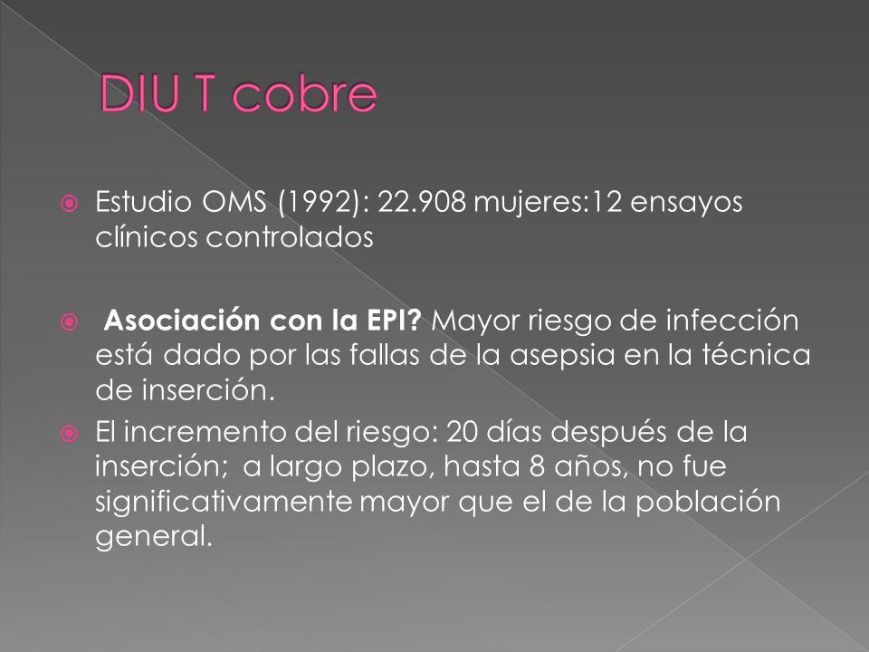 Estudio OMS (1992): 22.908 mujeres:12 ensayos clínicos controlados Asociación con la EPI? Mayor riesgo de infección está dado por las fallas de la ase