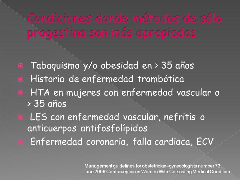 Tabaquismo y/o obesidad en > 35 años Historia de enfermedad trombótica HTA en mujeres con enfermedad vascular o > 35 años LES con enfermedad vascular,