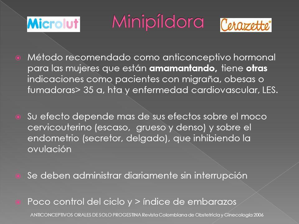 Método recomendado como anticonceptivo hormonal para las mujeres que están amamantando, tiene otras indicaciones como pacientes con migraña, obesas o