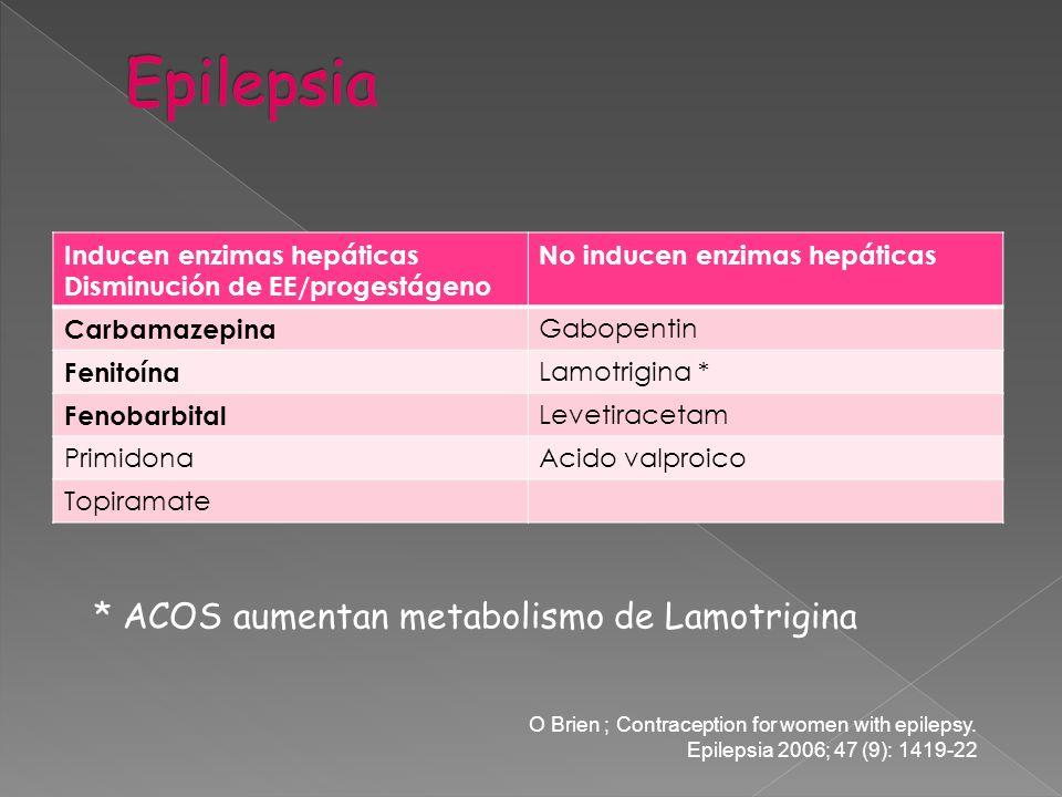 Inducen enzimas hepáticas Disminución de EE/progestágeno No inducen enzimas hepáticas Carbamazepina Gabopentin Fenitoína Lamotrigina * Fenobarbital Le