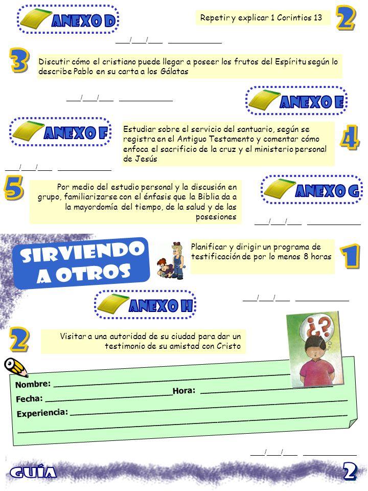 Planificar una actividad social para el grupo por lo menos una vez al mes ____/____/____ _______________ Hacer un diagrama denominacional de la organización con detalles especiales sobre la División Sudamericana FECHAPROGRAMADESCRICPCIÓNFIRMA ____/____/____ _______________ Conocer las fechas y detalles del surgimiento del Club de Conquistadores en tu país Trazar el desarrollo de la Iglesia Adventista Adventista en tu Unión o país ____/____/____ _______________