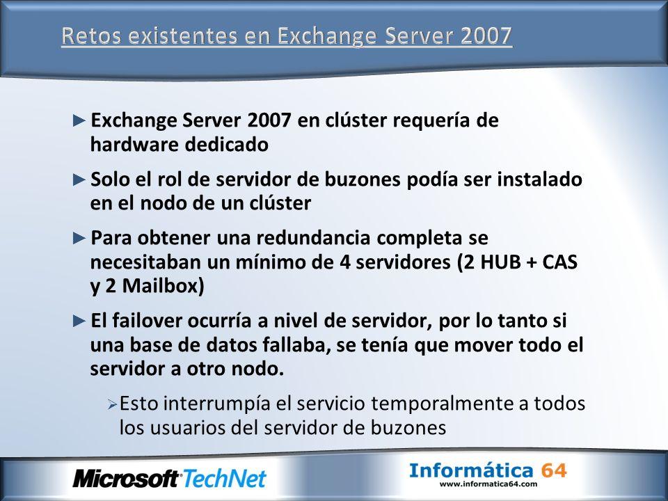 Exchange Server 2007 en clúster requería de hardware dedicado Solo el rol de servidor de buzones podía ser instalado en el nodo de un clúster Para obt