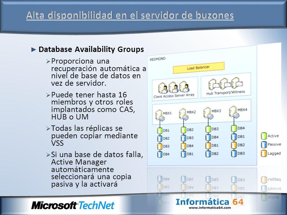 Database Availability Groups Proporciona una recuperación automática a nivel de base de datos en vez de servidor. Puede tener hasta 16 miembros y otro