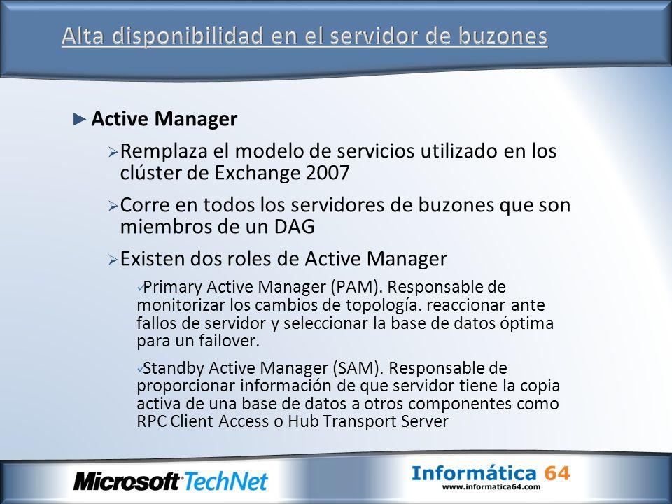 Active Manager Remplaza el modelo de servicios utilizado en los clúster de Exchange 2007 Corre en todos los servidores de buzones que son miembros de