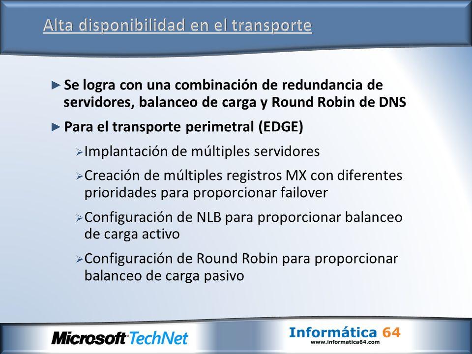 Se logra con una combinación de redundancia de servidores, balanceo de carga y Round Robin de DNS Para el transporte perimetral (EDGE) Implantación de