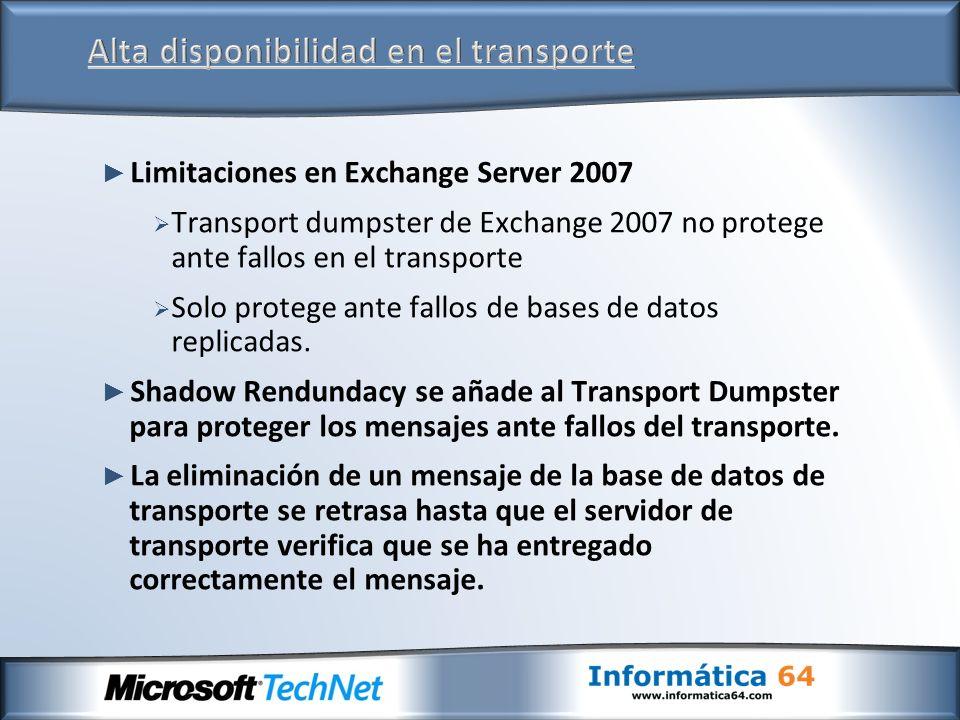 Limitaciones en Exchange Server 2007 Transport dumpster de Exchange 2007 no protege ante fallos en el transporte Solo protege ante fallos de bases de