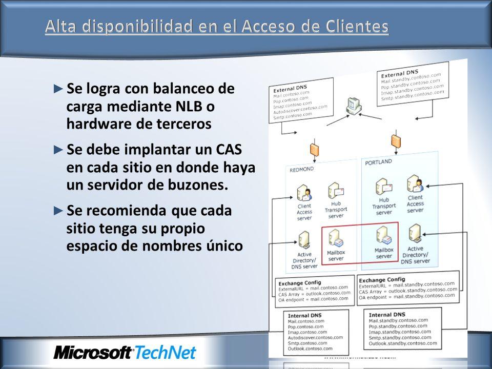 Se logra con balanceo de carga mediante NLB o hardware de terceros Se debe implantar un CAS en cada sitio en donde haya un servidor de buzones. Se rec