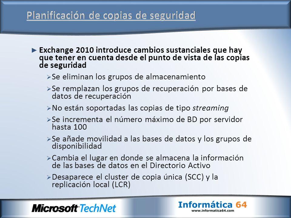 Exchange 2010 introduce cambios sustanciales que hay que tener en cuenta desde el punto de vista de las copias de seguridad Se eliminan los grupos de