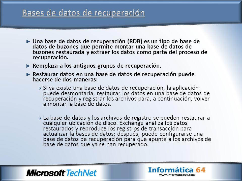Una base de datos de recuperación (RDB) es un tipo de base de datos de buzones que permite montar una base de datos de buzones restaurada y extraer lo