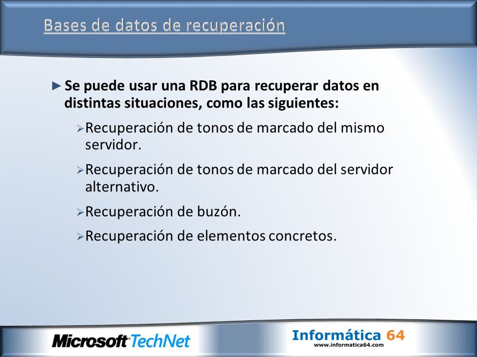 Se puede usar una RDB para recuperar datos en distintas situaciones, como las siguientes: Recuperación de tonos de marcado del mismo servidor. Recuper