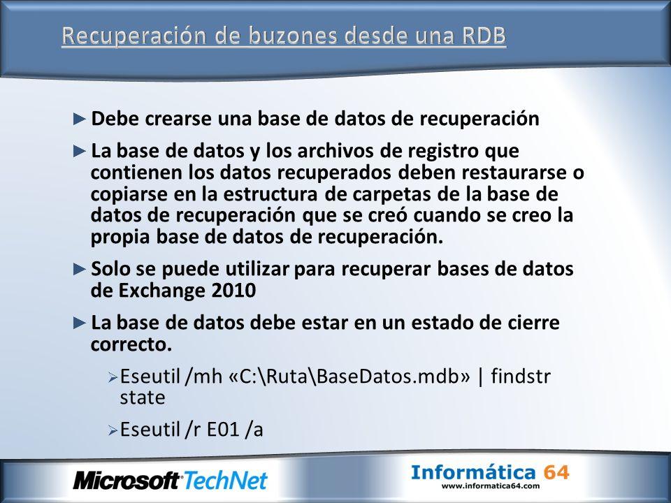 Debe crearse una base de datos de recuperación La base de datos y los archivos de registro que contienen los datos recuperados deben restaurarse o cop