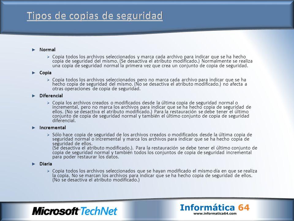 Normal Copia todos los archivos seleccionados y marca cada archivo para indicar que se ha hecho copia de seguridad del mismo. (Se desactiva el atribut