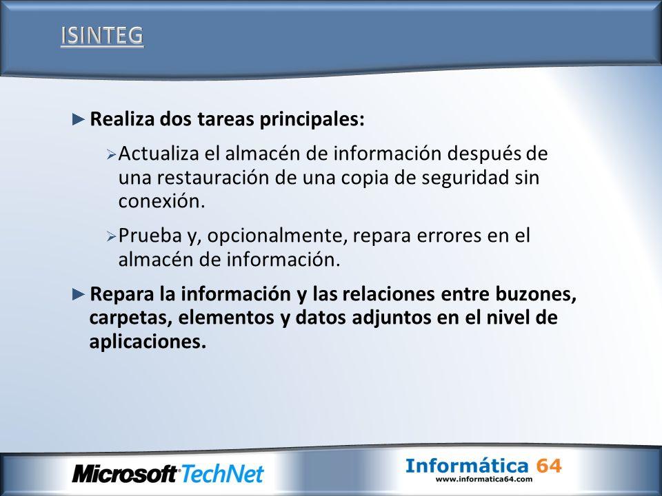 Realiza dos tareas principales: Actualiza el almacén de información después de una restauración de una copia de seguridad sin conexión. Prueba y, opci