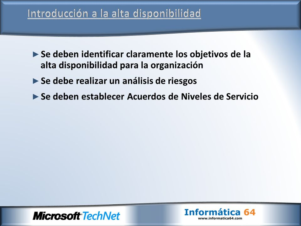 Database Availability Groups Proporciona una recuperación automática a nivel de base de datos en vez de servidor.