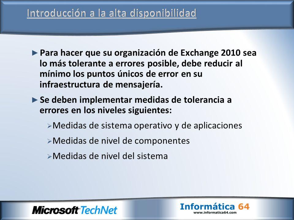 Para hacer que su organización de Exchange 2010 sea lo más tolerante a errores posible, debe reducir al mínimo los puntos únicos de error en su infrae