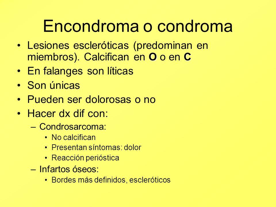 Encondroma o condroma OCLesiones escleróticas (predominan en miembros). Calcifican en O o en C En falanges son líticas Son únicas Pueden ser dolorosas