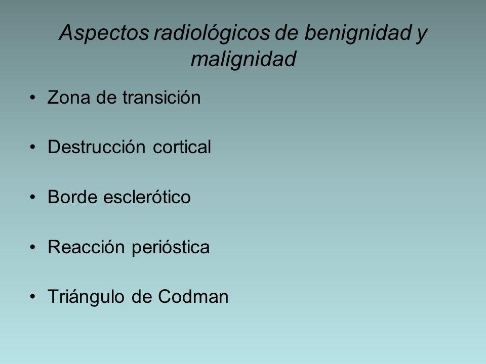 Aspectos radiológicos de benignidad y malignidad Zona de transición Destrucción cortical Borde esclerótico Reacción perióstica Triángulo de Codman