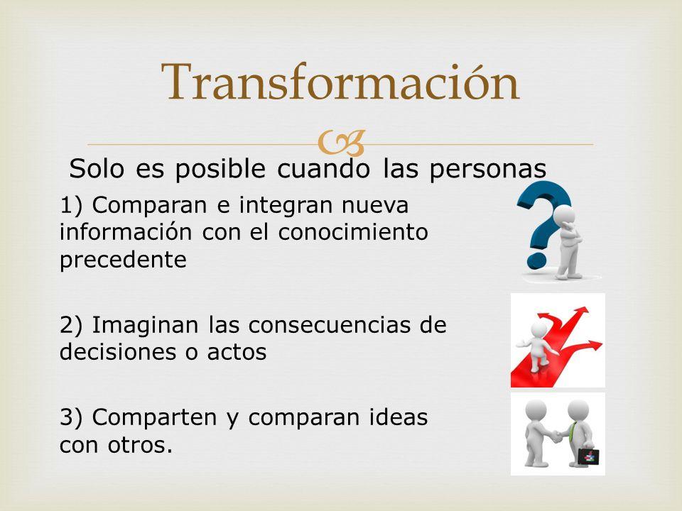 1) Comparan e integran nueva información con el conocimiento precedente 2) Imaginan las consecuencias de decisiones o actos 3) Comparten y comparan ideas con otros.