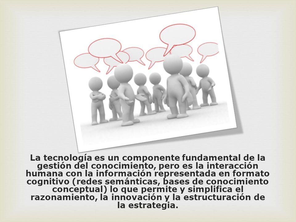 La tecnología es un componente fundamental de la gestión del conocimiento, pero es la interacción humana con la información representada en formato cognitivo (redes semánticas, bases de conocimiento conceptual) lo que permite y simplifica el razonamiento, la innovación y la estructuración de la estrategia.