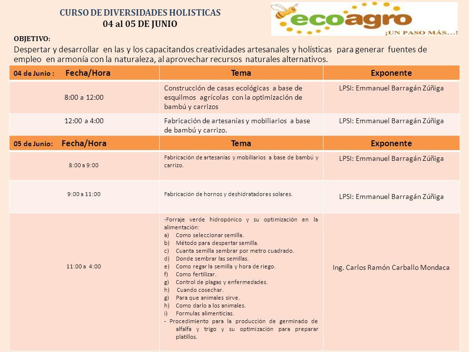 Curso de Diversidades Holísticas del 04 al 05 de Junio en Guamúchil, Sinaloa Costo del Taller: $1,500.00 + IVA si se requiere factura.