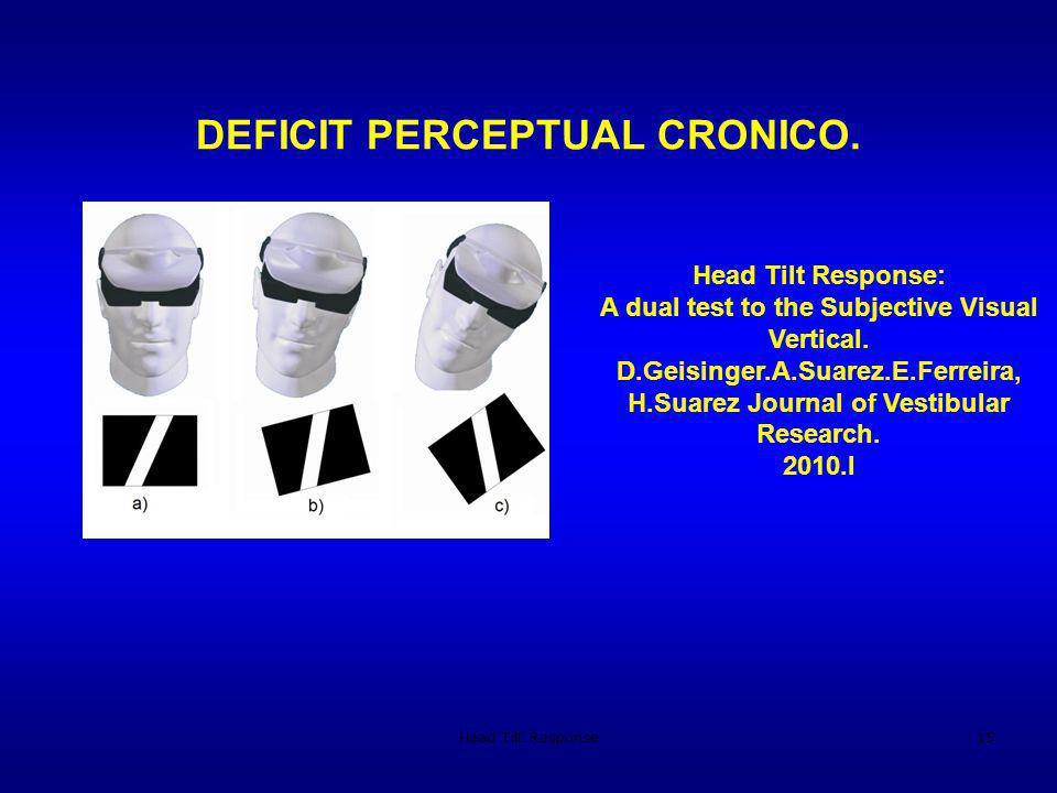 Head Tilt Response15 DEFICIT PERCEPTUAL CRONICO. Head Tilt Response: A dual test to the Subjective Visual Vertical. D.Geisinger.A.Suarez.E.Ferreira, H