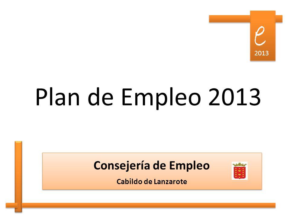 Plan de Empleo 2013 Consejería de Empleo Cabildo de Lanzarote Consejería de Empleo Cabildo de Lanzarote e e 2013