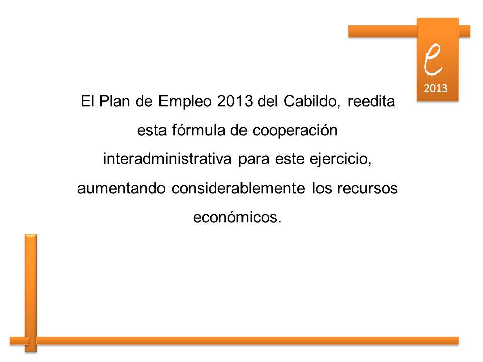 e e 2013 El Plan de Empleo 2013 del Cabildo, reedita esta fórmula de cooperación interadministrativa para este ejercicio, aumentando considerablemente los recursos económicos.