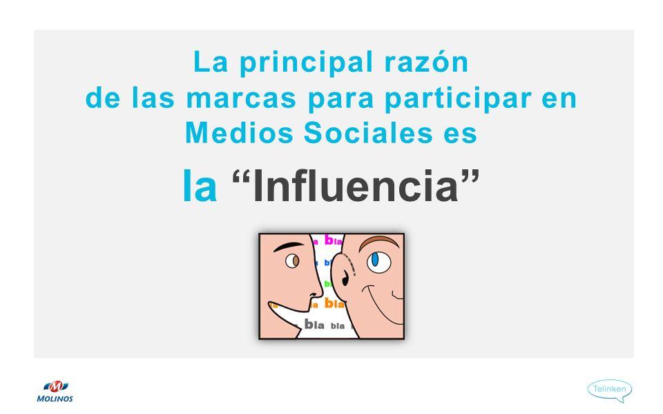 la Influencia La principal razón de las marcas para participar en Medios Sociales es