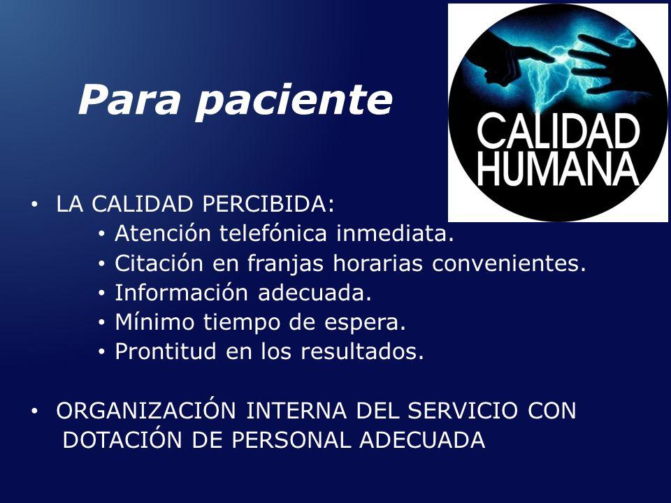 Para paciente LA CALIDAD PERCIBIDA: Atención telefónica inmediata. Citación en franjas horarias convenientes. Información adecuada. Mínimo tiempo de e