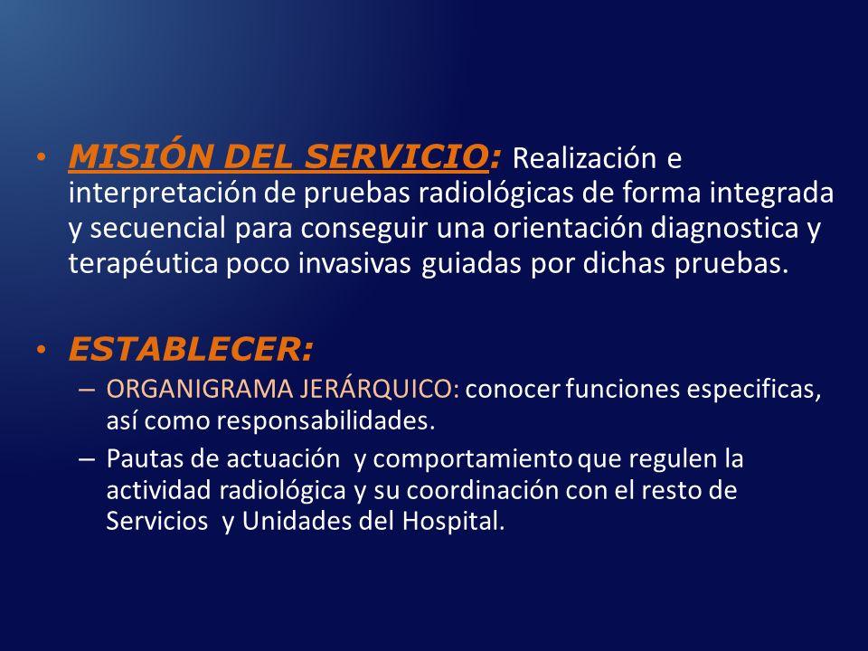 MISIÓN DEL SERVICIO: Realización e interpretación de pruebas radiológicas de forma integrada y secuencial para conseguir una orientación diagnostica y