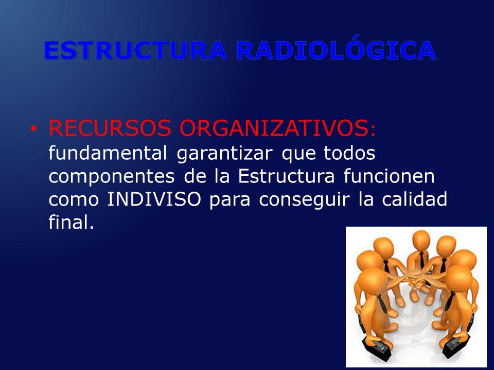RECURSOS ORGANIZATIVOS : fundamental garantizar que todos componentes de la Estructura funcionen como INDIVISO para conseguir la calidad final.