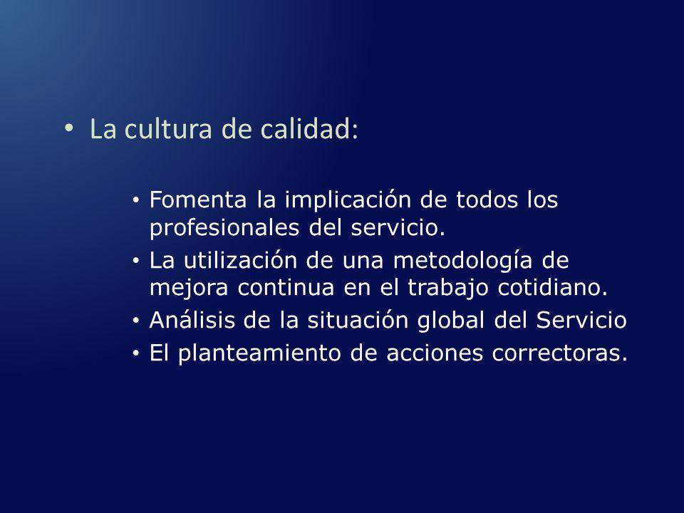 La cultura de calidad: Fomenta la implicación de todos los profesionales del servicio. La utilización de una metodología de mejora continua en el trab