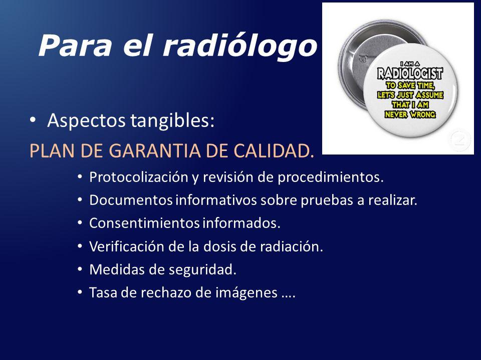Para el radiólogo Aspectos tangibles: PLAN DE GARANTIA DE CALIDAD. Protocolización y revisión de procedimientos. Documentos informativos sobre pruebas
