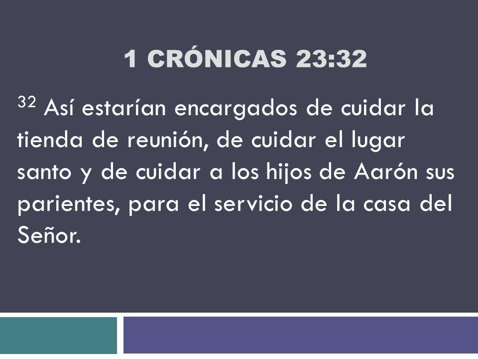 1 CRÓNICAS 23:32 32 Así estarían encargados de cuidar la tienda de reunión, de cuidar el lugar santo y de cuidar a los hijos de Aarón sus parientes, p