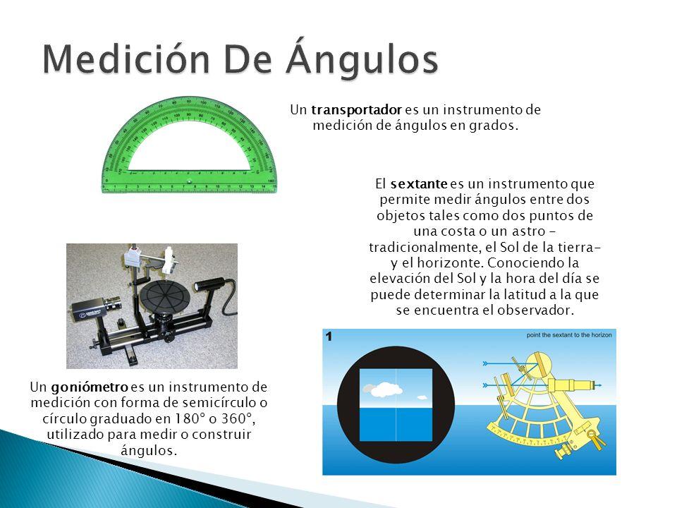 Un goniómetro es un instrumento de medición con forma de semicírculo o círculo graduado en 180º o 360º, utilizado para medir o construir ángulos. Un t