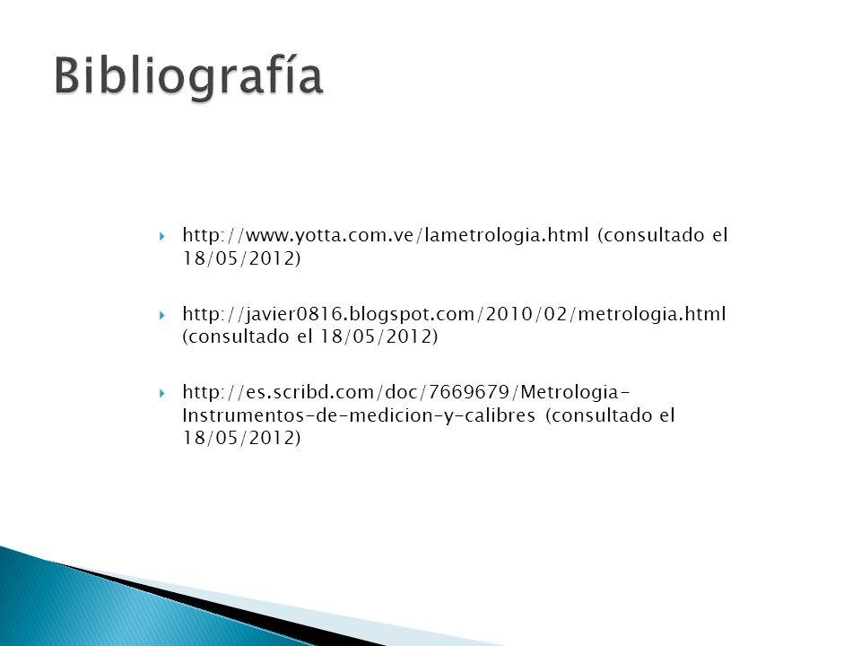 http://www.yotta.com.ve/lametrologia.html (consultado el 18/05/2012) http://javier0816.blogspot.com/2010/02/metrologia.html (consultado el 18/05/2012)
