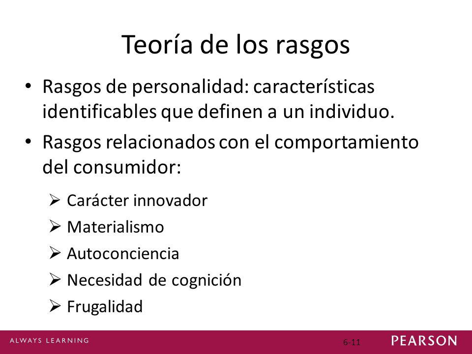 6-11 Teoría de los rasgos Rasgos de personalidad: características identificables que definen a un individuo. Rasgos relacionados con el comportamiento