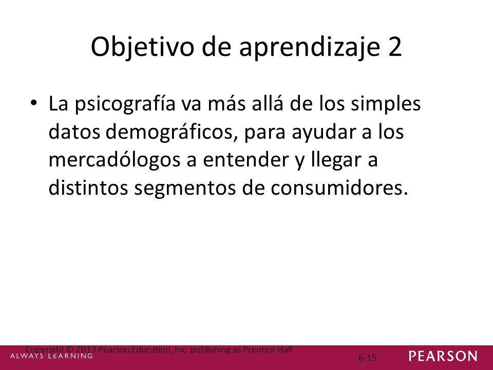 Objetivo de aprendizaje 2 La psicografía va más allá de los simples datos demográficos, para ayudar a los mercadólogos a entender y llegar a distintos segmentos de consumidores.