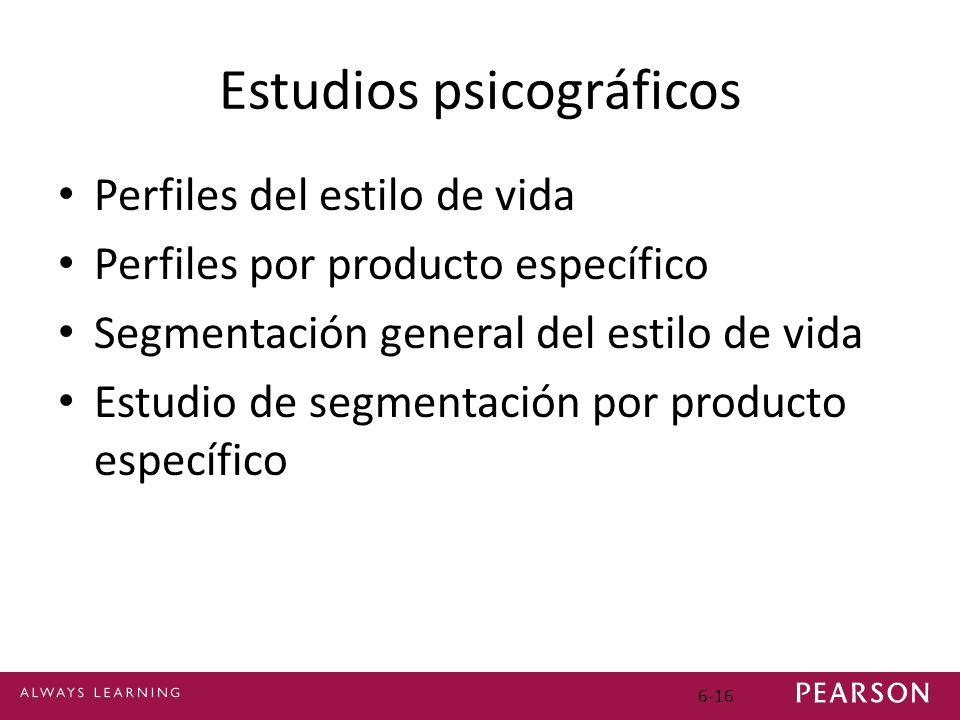 Estudios psicográficos Perfiles del estilo de vida Perfiles por producto específico Segmentación general del estilo de vida Estudio de segmentación por producto específico 6-16