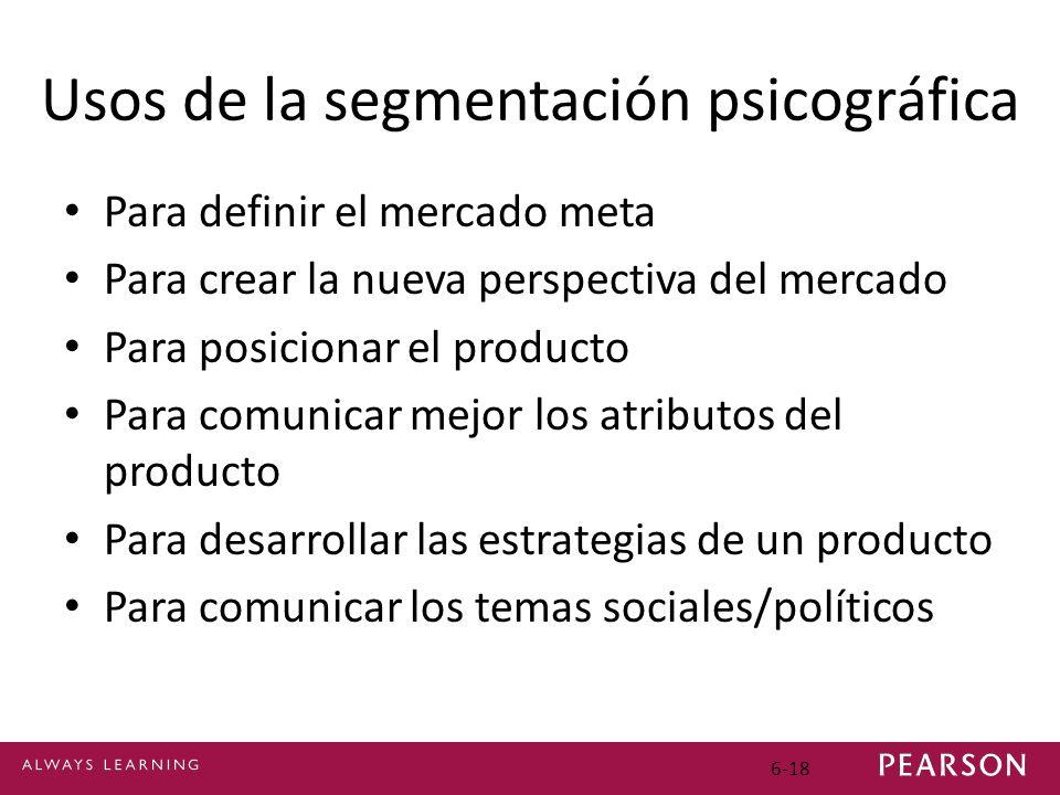 6-18 Usos de la segmentación psicográfica Para definir el mercado meta Para crear la nueva perspectiva del mercado Para posicionar el producto Para comunicar mejor los atributos del producto Para desarrollar las estrategias de un producto Para comunicar los temas sociales/políticos