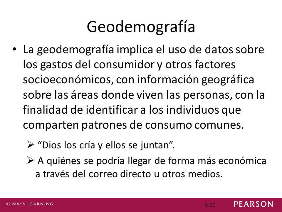 6-20 Geodemografía La geodemografía implica el uso de datos sobre los gastos del consumidor y otros factores socioeconómicos, con información geográfica sobre las áreas donde viven las personas, con la finalidad de identificar a los individuos que comparten patrones de consumo comunes.